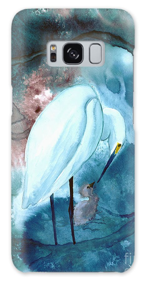 A Mother Egret With Her Chick- A Watercolor Painting Galaxy S8 Case featuring the painting Mother And Child by Mui-Joo Wee