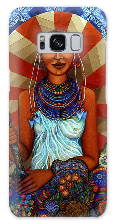 Mother Earth Galaxy Case featuring the painting Mother Earth by Madalena Lobao-Tello