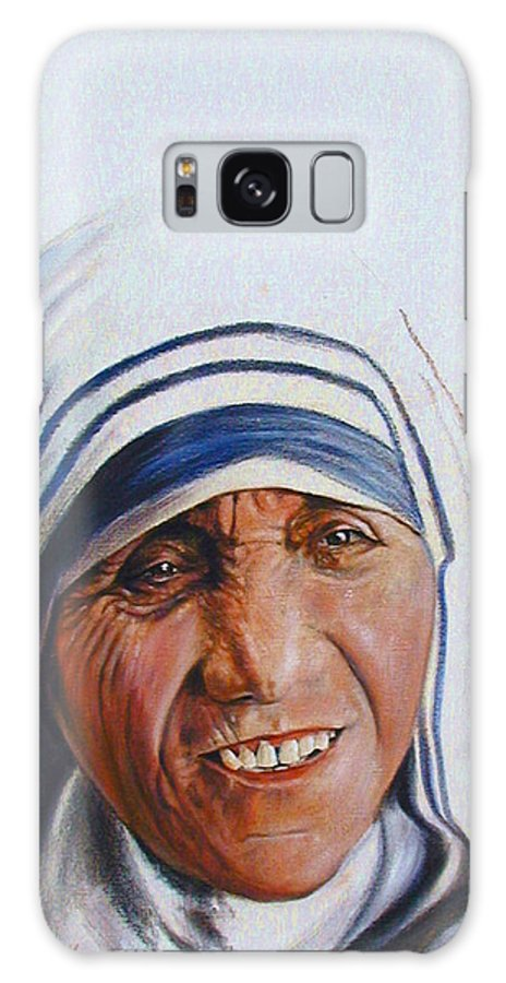 Mother Teresa Galaxy S8 Case featuring the painting Mother Teresa by John Lautermilch