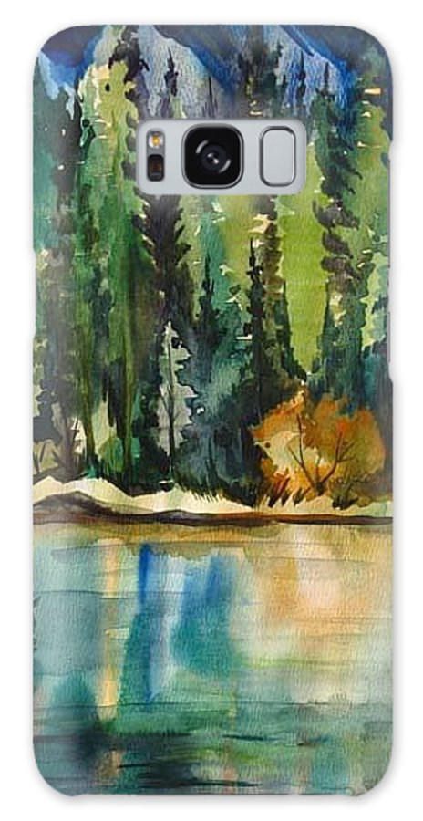 Landscape Galaxy S8 Case featuring the painting Mountain Lake by Anna Duyunova