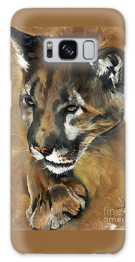 Southwest Art Galaxy S8 Case featuring the painting Mountain Lion - Guardian Of The North by J W Baker