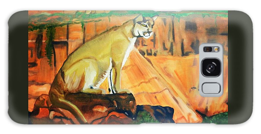 Animal Galaxy S8 Case featuring the painting Mountain Lion In Thought by Jo-Ann Hayden