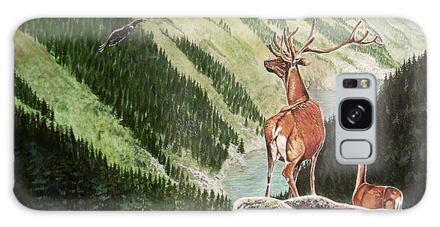 Deer Galaxy S8 Case featuring the painting Mountain Morning by Arie Van der Wijst
