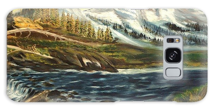 Landscape Galaxy Case featuring the painting Mountain River by Kenneth LePoidevin