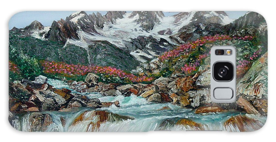 Mountain Galaxy Case featuring the painting Mountain Stream by Quwatha Valentine