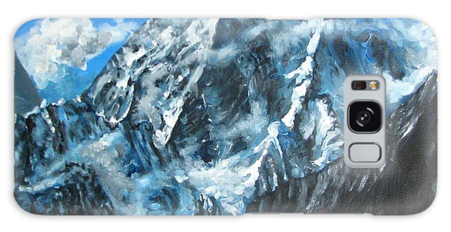 Mountains Galaxy S8 Case featuring the painting Mountains View Landscape Acrylic Painting by Natalja Picugina