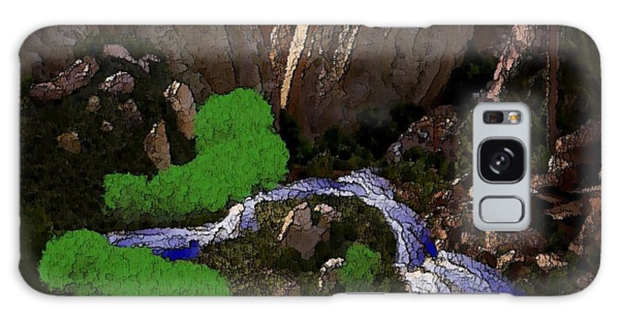 Stones.rocks.mountines.sky.cloud.bushes.river.water.flow. Galaxy S8 Case featuring the digital art Mountine River by Dr Loifer Vladimir