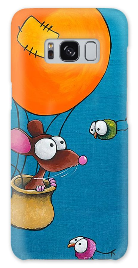 Mouse Galaxy S8 Case featuring the painting Mouse In His Hot Air Balloon by Lucia Stewart