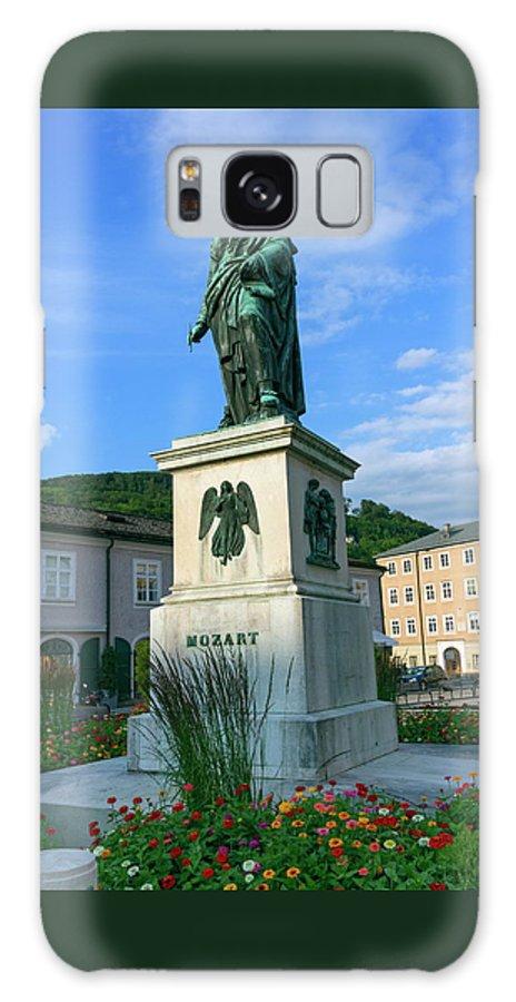 Mozart Galaxy S8 Case featuring the photograph Mozart Statue In Mozartplatz, Salzburg, Austria by Elenarts - Elena Duvernay photo