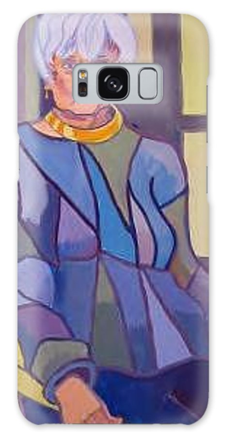 Mature Woman Sitting In A Chair Galaxy Case featuring the painting Mrs. Edith Lipton by Debra Bretton Robinson