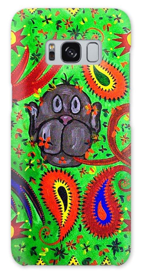 Fantasy Folk Art Galaxy S8 Case featuring the painting Mun Moji-hookah Monkey by Fareeha Khawaja