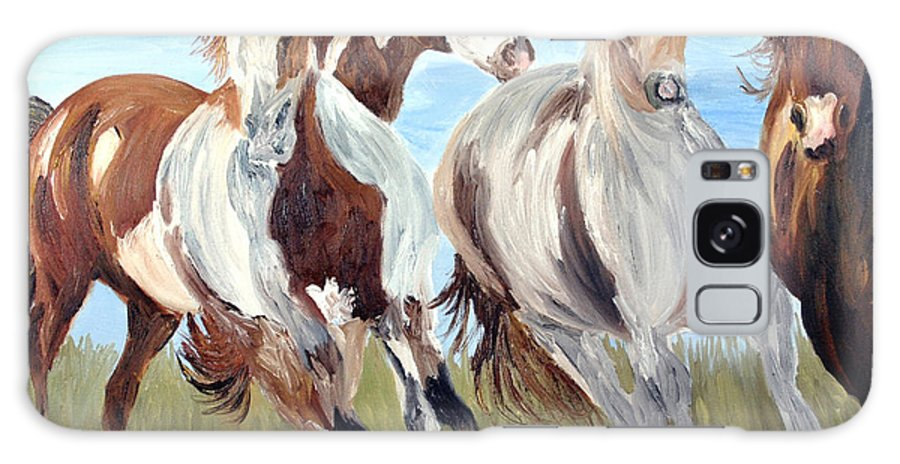 Horse Galaxy S8 Case featuring the painting Mustangs Running Free by Michael Lee