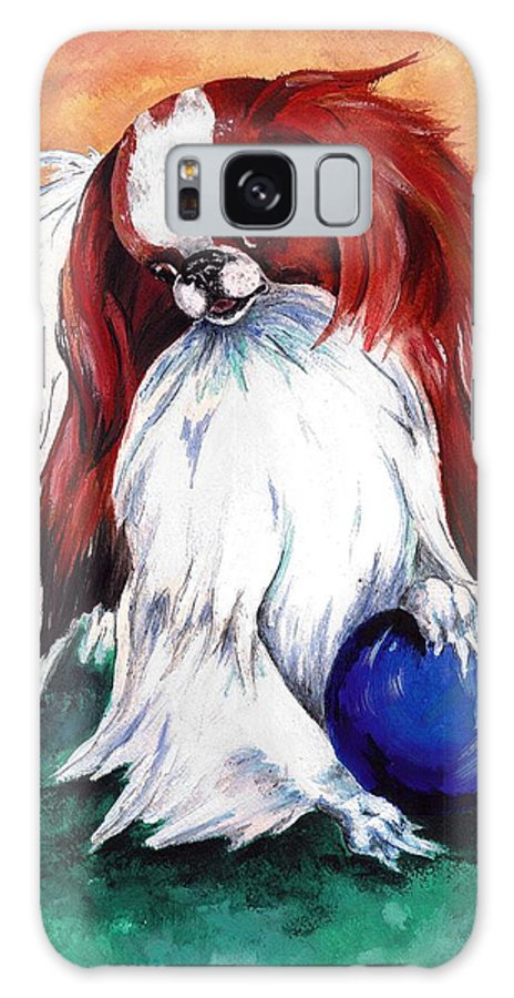 Japanese Chin Galaxy S8 Case featuring the painting My Ball by Kathleen Sepulveda