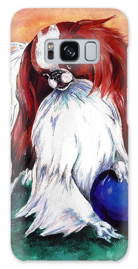 Japanese Chin Galaxy Case featuring the painting My Ball by Kathleen Sepulveda