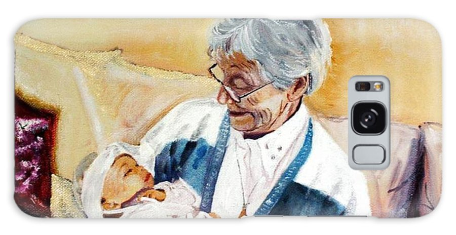 Portrait Galaxy S8 Case featuring the painting my granddaughter Leonie with her great grandmum by Helmut Rottler