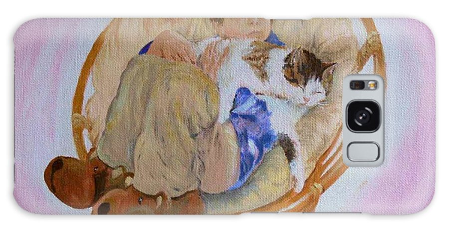 Portrait Galaxy Case featuring the painting my grandson Pascal with his cat Paul by Helmut Rottler