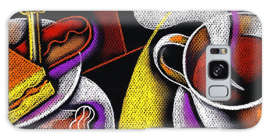 Appetite Baked Goods Coffee Coffee Cup Coffeepot Color Color Image Colour Cup Daytime Dish Drawing Drink Food Food And Drink Fulfilling Group High Angle High Angle View Illustration Illustration And Painting Morning Muffin Nobody Pot Relaxation Resting Satisfaction Saucer Small Group Of Objects Steam Steaming Tea Teacup Teapot Thirst Thirsty Vertical Galaxy S8 Case featuring the painting My Morning Coffee by Leon Zernitsky