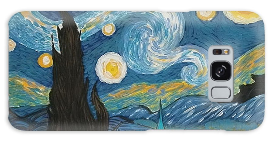 Vincent Galaxy Case featuring the painting My Starry Nite by Angela Miles Varnado