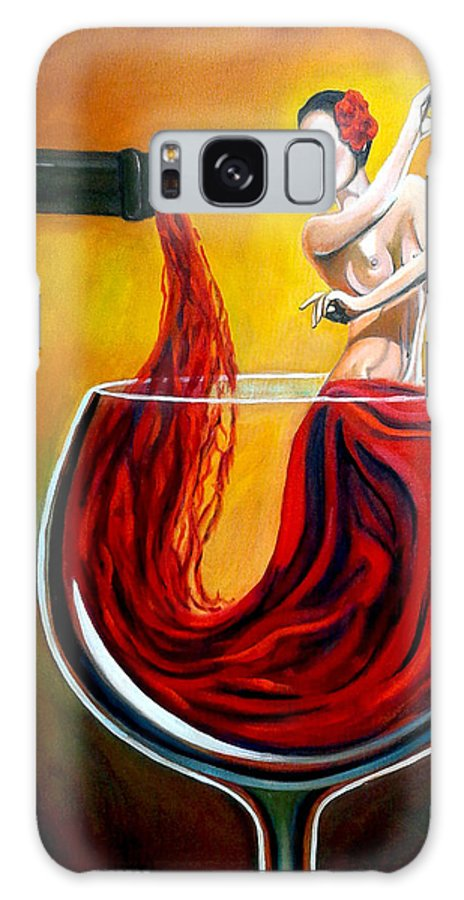 Wine Galaxy Case featuring the painting My Wine Lady by Jose Manuel Abraham