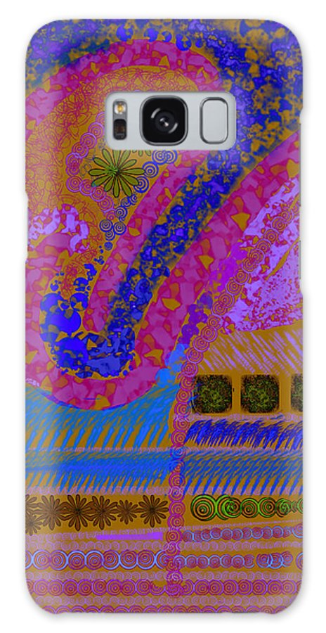 Abstract Colors Pinks Blues Fabricdesign Galaxy S8 Case featuring the digital art My Yard 2 by Suzanne Udell Levinger