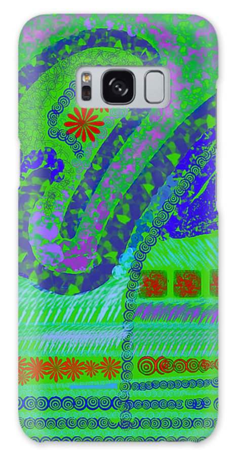 Abstract Colors Fabricdesign Blues Greens Galaxy S8 Case featuring the digital art My Yard 3 by Suzanne Udell Levinger