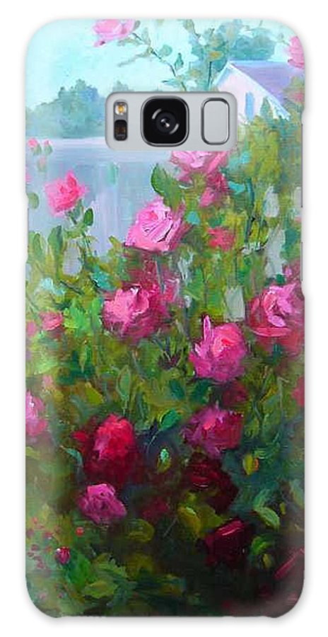 Climing Red Roses On Fence Galaxy S8 Case featuring the painting Myback Yard Roses by Patricia Kness