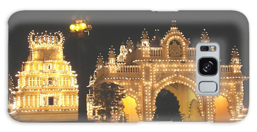 Mysore Galaxy S8 Case featuring the painting Mysore Palace Main Gate Temple Gloriously Lit At Night by Usha Shantharam