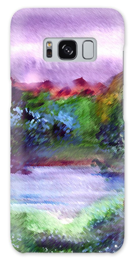 Lake Galaxy S8 Case featuring the painting Mystic Lake by Anil Nene