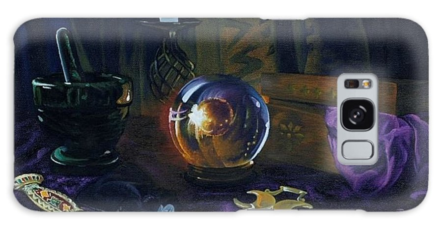 Still Life Mystic Crystal Ball Pestle Mortar Knife Runes Horse Brasspuple Silk Candle Galaxy S8 Case featuring the painting Mystic Still Life by Pauline Sharp
