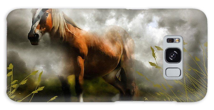 Horse Galaxy S8 Case featuring the mixed media Mystic Visitor by Georgiana Romanovna