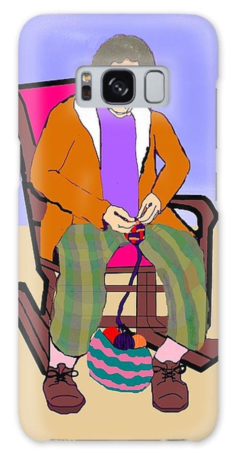 Grandmother Galaxy Case featuring the digital art Nana Knitting by Pharris Art