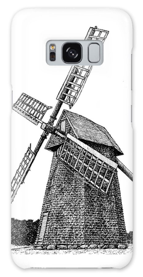 Nantucket Galaxy S8 Case featuring the drawing Nantucket Windmill Number One by Dan Moran