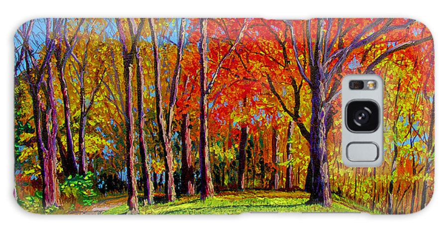 Trees Autumn Hill Grass Sunshine Shadows Sky Colors Path Galaxy S8 Case featuring the painting Nashville North by Stan Hamilton