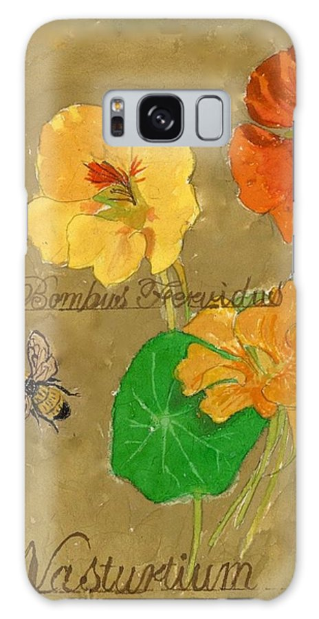 Nasturtiums Galaxy S8 Case featuring the painting Nasturtiums With Bumble Bee by Mandy Penney