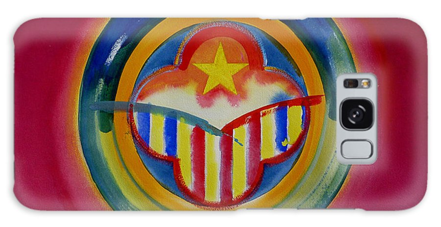 Button Galaxy Case featuring the painting Native American by Charles Stuart
