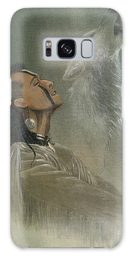 American Galaxy Case featuring the painting Native American Indian by Morgan Fitzsimons