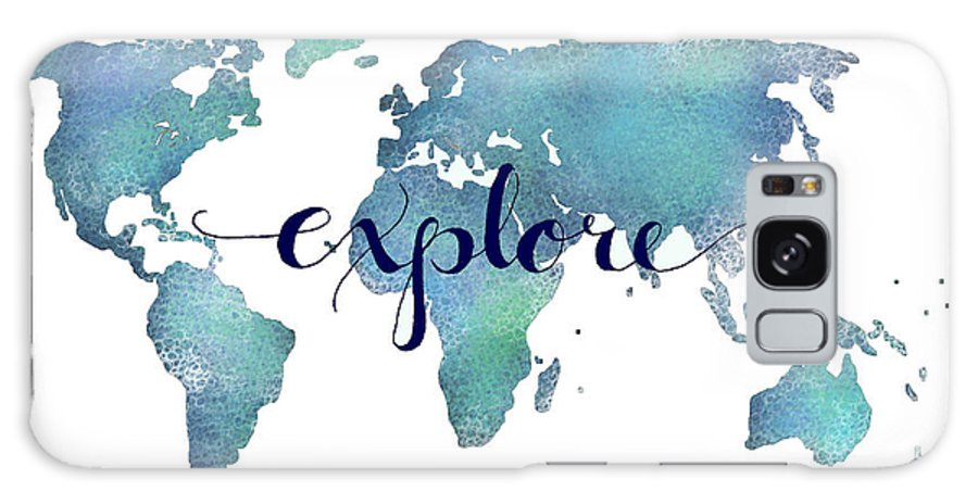 Travel quotes galaxy cases fine art america travel quotes galaxy case navy and teal explore world map by michelle eshleman gumiabroncs Images