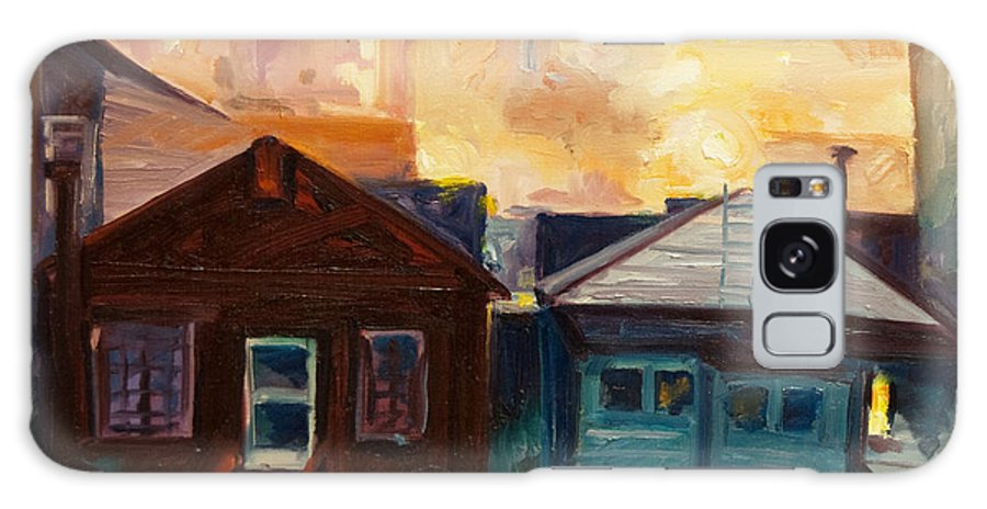Cityscape Galaxy Case featuring the painting Neighbors by Rick Nederlof