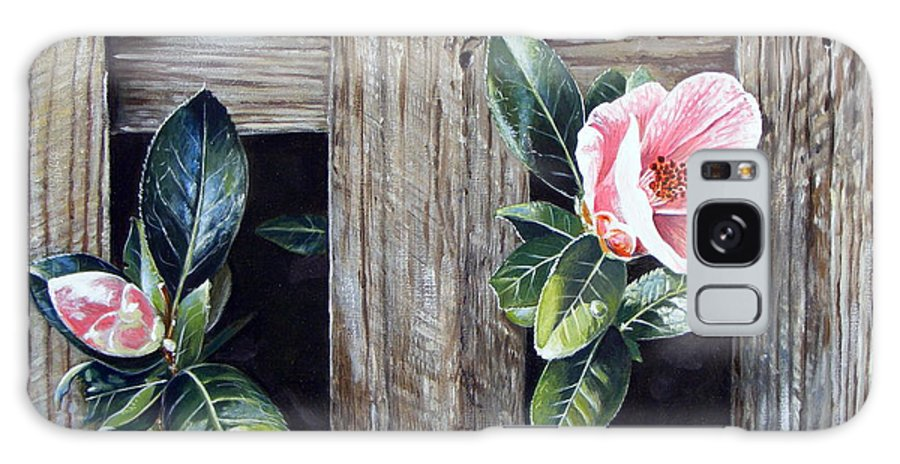 Flower Pink Acrylics Neighbours Fence Wood Leaves Galaxy S8 Case featuring the painting Neighbours by Arie Van der Wijst