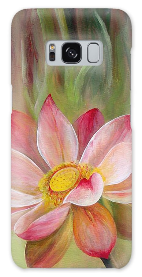 Flower Galaxy Case featuring the painting Nenuphar by Muriel Dolemieux