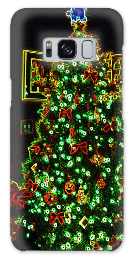 Christmas Galaxy S8 Case featuring the photograph Neon Christmas Tree by Nancy Mueller
