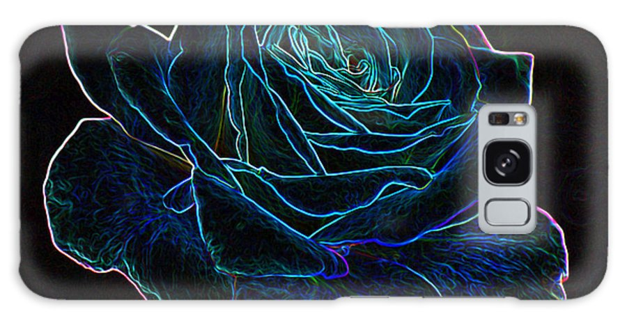 Flowers Galaxy S8 Case featuring the mixed media Neon Rose 3 by Ernie Echols