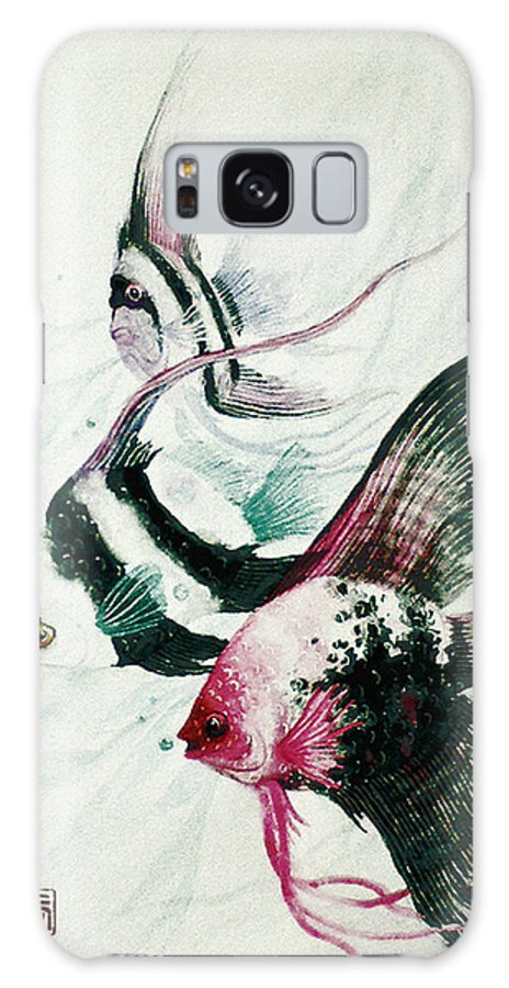 Fish Galaxy S8 Case featuring the painting Neptunes Trio by Stephen Lucas