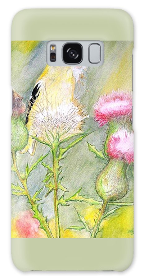 Goldfinch Galaxy S8 Case featuring the painting Nest Fluff by Debra Sandstrom