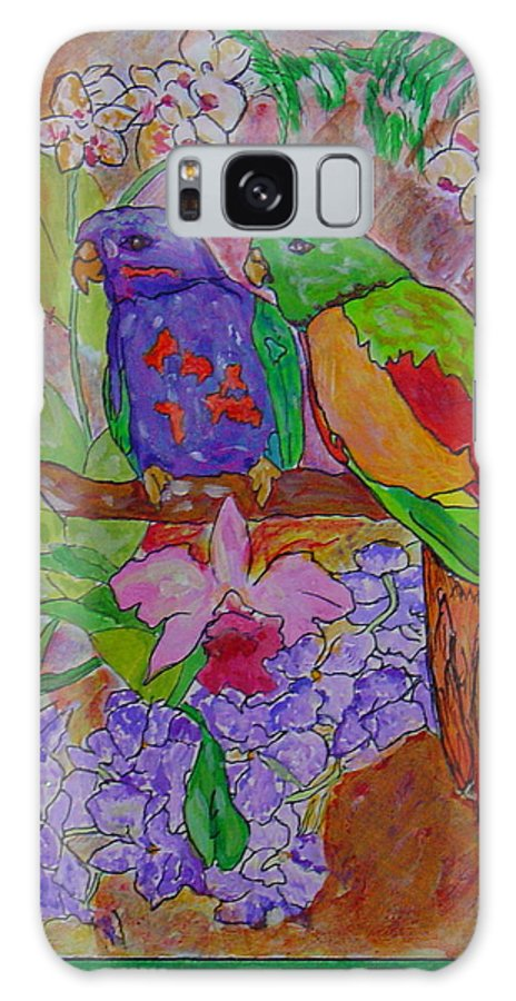 Tropical Pair Birds Parrots Original Illustration Leilaatkinson Galaxy Case featuring the painting Nesting by Leila Atkinson