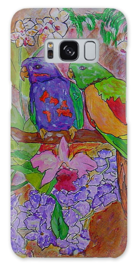 Tropical Pair Birds Parrots Original Illustration Leilaatkinson Galaxy S8 Case featuring the painting Nesting by Leila Atkinson