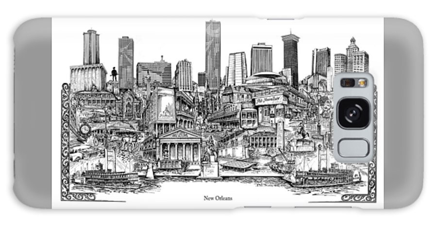 City Drawing Galaxy Case featuring the drawing New Orleans by Dennis Bivens