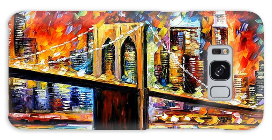 Afremov Galaxy S8 Case featuring the painting New York Brookyln Bridge by Leonid Afremov