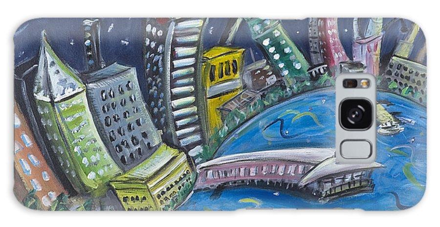New York City Manhattan Hudson River Galaxy S8 Case featuring the painting New York City Skyline Hoboken by Jason Gluskin