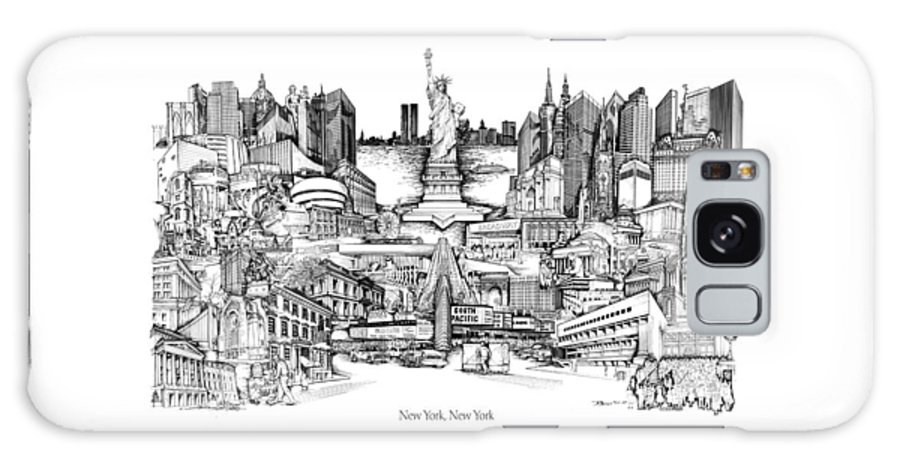 City Drawing Galaxy Case featuring the drawing New York by Dennis Bivens